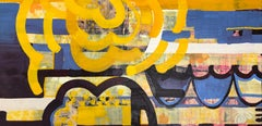Reverberate 2, yellow and blue abstract encaustic painting on panel, mixed media
