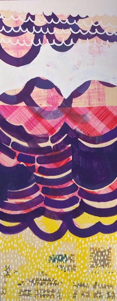 Reverberate 4, pink and purple abstract encaustic painting on panel, mixed media