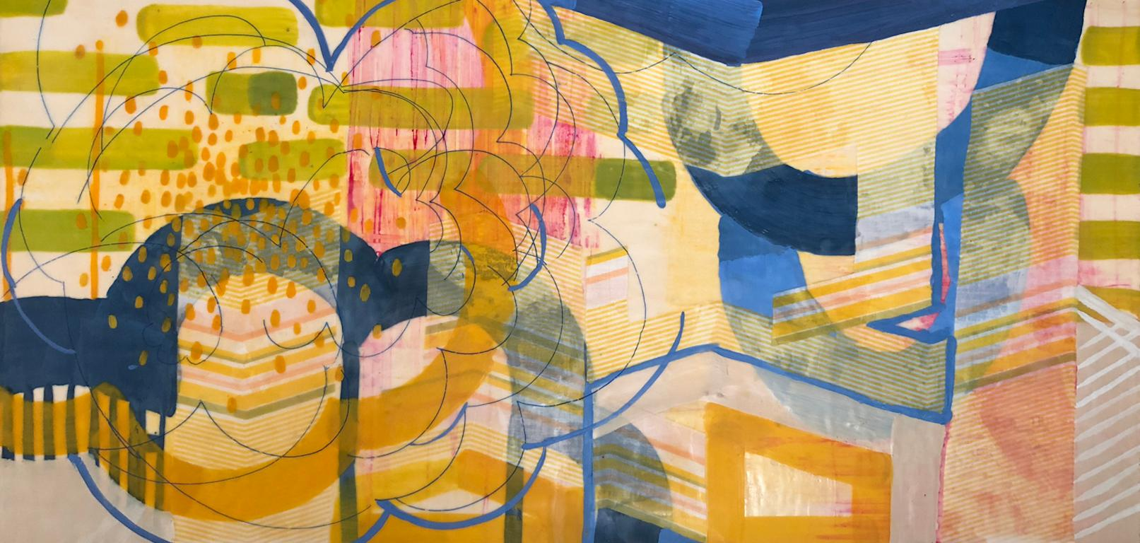 Reverberate I, yellow and green abstract encaustic painting on panel