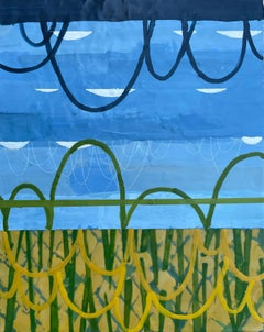 Seeking Perspective I, blue and yellow abstract encaustic painting on panel