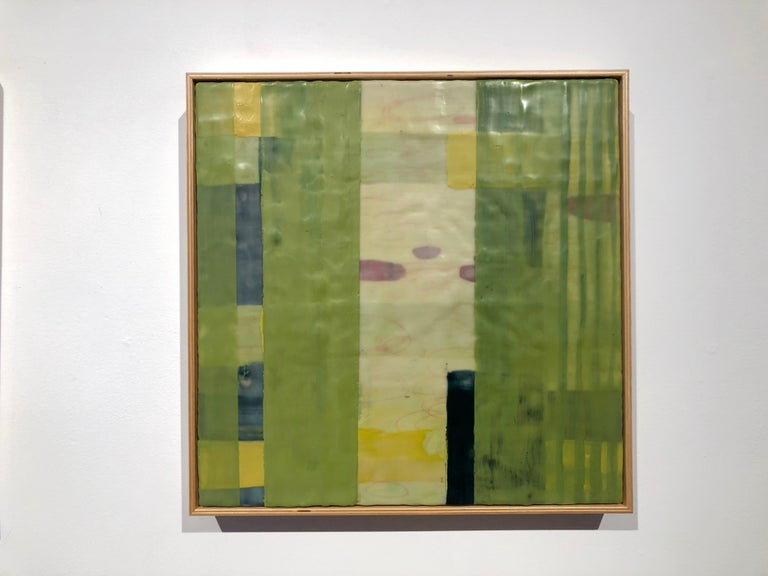 Straightening Up 7, bright green geometric abstract encaustic painting on panel - Contemporary Painting by Amber George