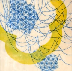 Swells, blue and yellow abstract encaustic painting on panel