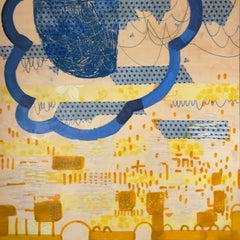 Where Hope and Joy Meet, blue and yellow abstract encaustic painting on panel