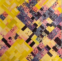 Wrap Up 1, yellow and purple abstract encaustic painting on panel, framed
