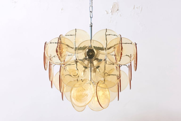 Mid-Century Modern Amber Glass Disc Vistosi Chandelier For Sale