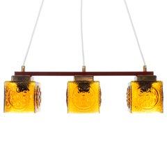 Amber Glass Hanging Light-Fixture from the 1960s, Scandinavia
