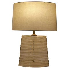 Amber Glass Oblong Table Lamp