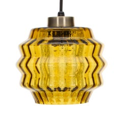 Amber Glass Pendant Light, 1960s, Scandinavian Hanging Lamp