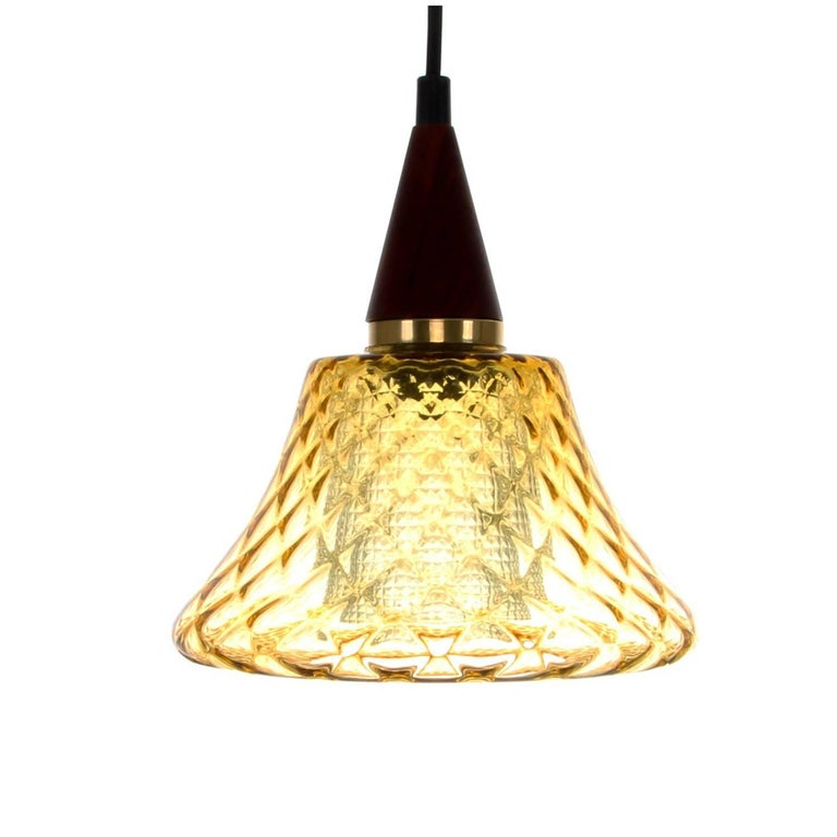 Amber Glass Pendant Light, 1960s, Charming Amber Crystal Glass Hanging Lamp