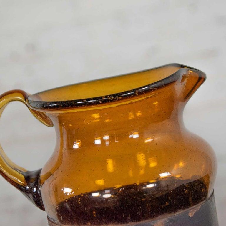 Amber Imprisoned Mexican Glass Brutalist Modern Cocktail Set Filipe Derflingher For Sale 5