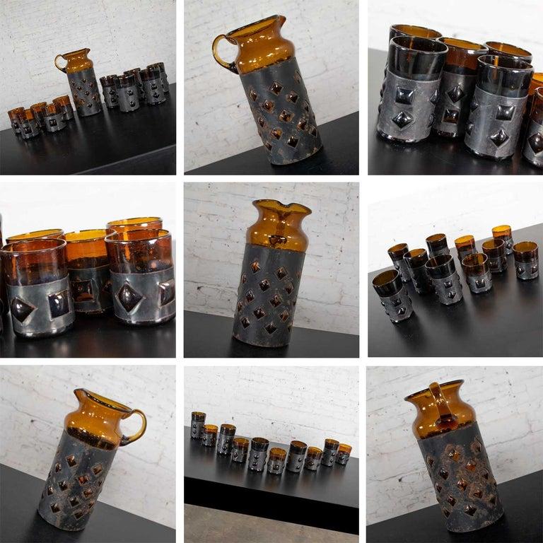 Amber Imprisoned Mexican Glass Brutalist Modern Cocktail Set Filipe Derflingher For Sale 7