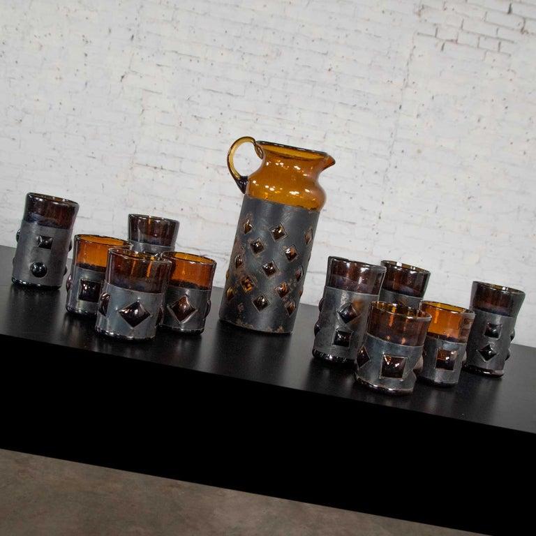 Amber Imprisoned Mexican Glass Brutalist Modern Cocktail Set Filipe Derflingher In Good Condition For Sale In Topeka, KS