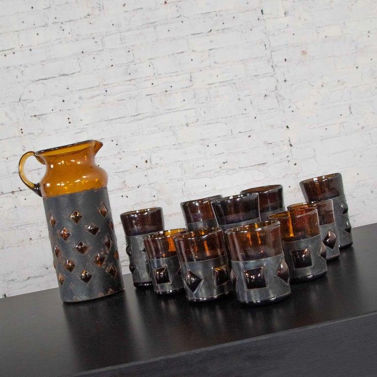 20th Century Amber Imprisoned Mexican Glass Brutalist Modern Cocktail Set Filipe Derflingher For Sale