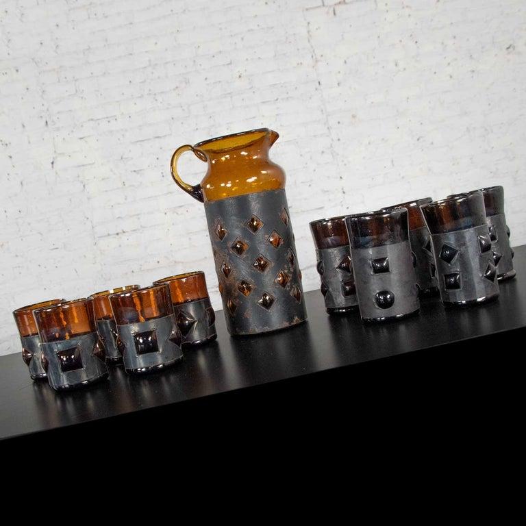 Metal Amber Imprisoned Mexican Glass Brutalist Modern Cocktail Set Filipe Derflingher For Sale