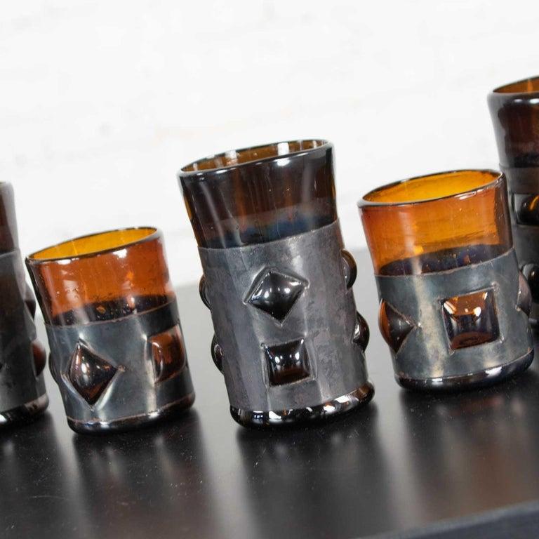 Amber Imprisoned Mexican Glass Brutalist Modern Cocktail Set Filipe Derflingher For Sale 1