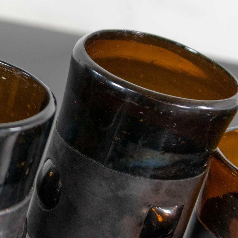 Amber Imprisoned Mexican Glass Brutalist Modern Cocktail Set Filipe Derflingher For Sale 4