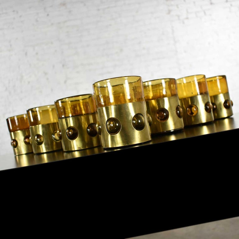 Amber Imprisoned Mexican Glass Brutalist Modern Tumblers by Filipe Derflingher For Sale 1
