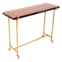 Amber Lucite and Gilt Steal Console Table