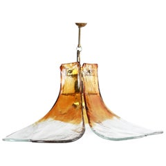 Amber Murano Glass Flower Chandelier by Carlo Nason for Mazzega