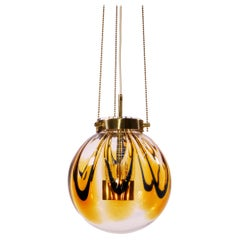 1960 Germany Kaiser Pendant Light Amber Murano Glass & Gilt-Brass