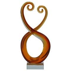 Amber Murano Glass Sculpture, circa 1970