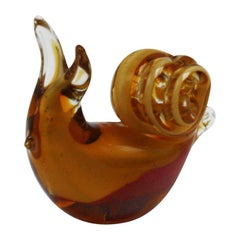 Amber Murano Glass Snail with Gold Details, circa 1970