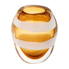 Amber Murano Glass Vase by Pino Signoretto