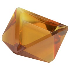 Amber or Yellow Orange Murano Art Deco Ashtray or Bowl