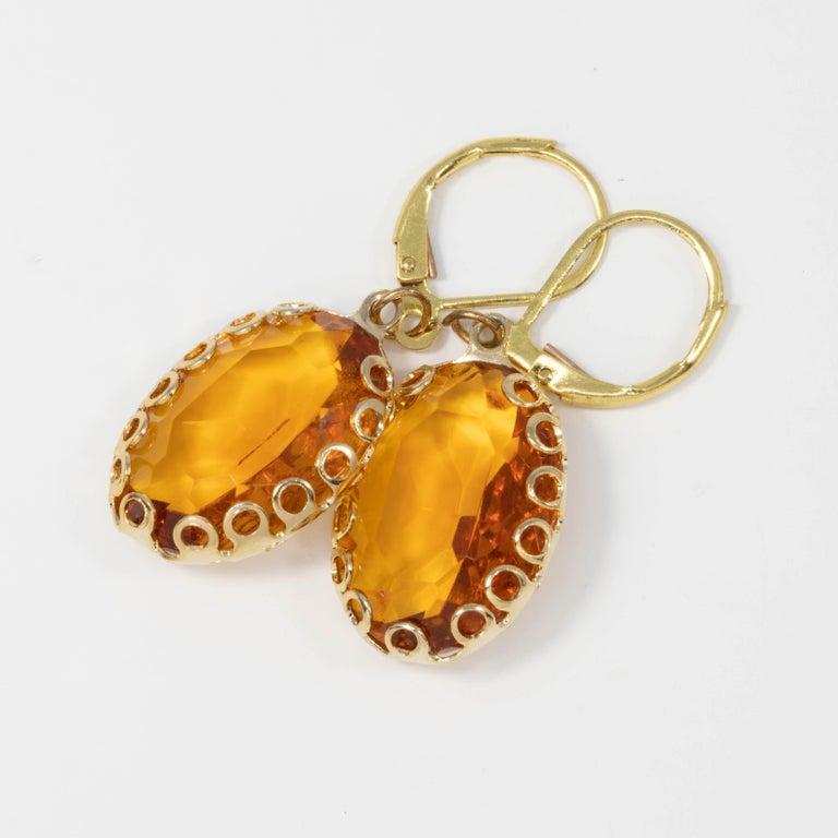Retro Amber Orange Crystal Dangling Lever Back Dangle Earrings in Gold For Sale