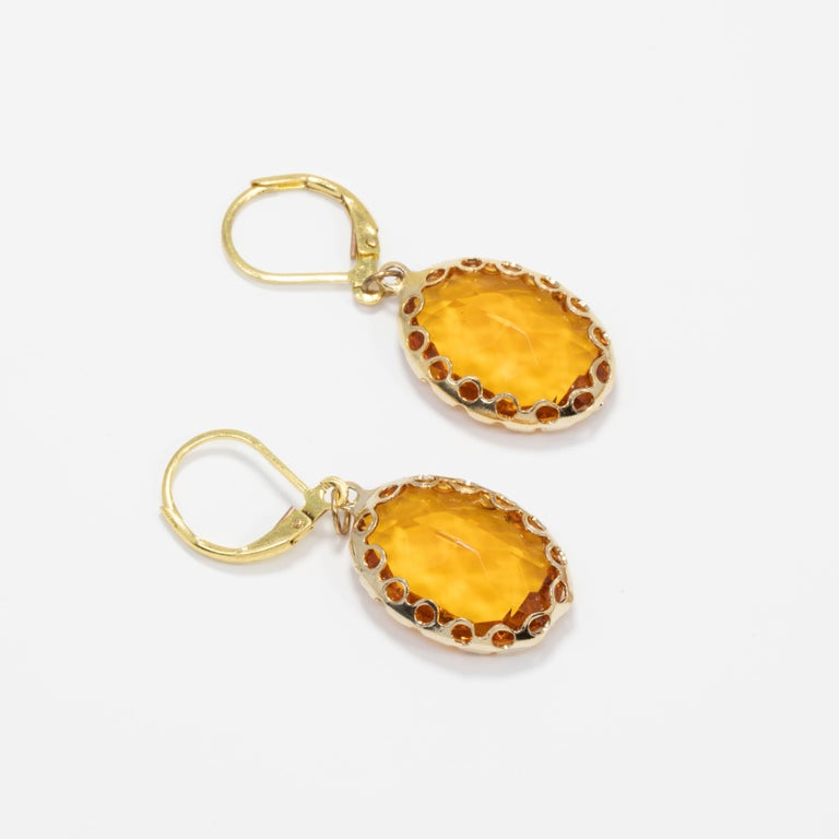 Amber Orange Crystal Dangling Lever Back Dangle Earrings in Gold In Good Condition For Sale In Milford, DE