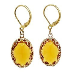 Amber Orange Crystal Dangling Lever Back Dangle Earrings in Gold