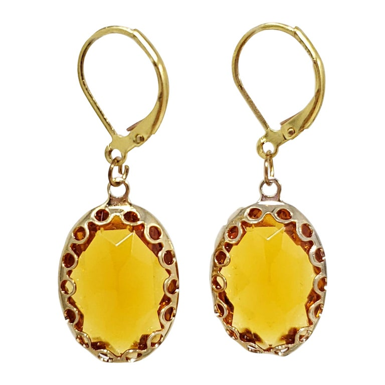 Amber Orange Crystal Dangling Lever Back Dangle Earrings in Gold For Sale
