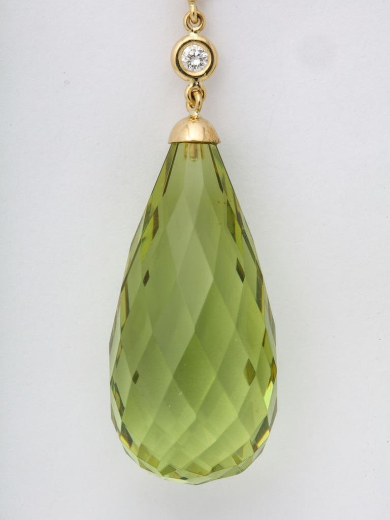 Contemporary Amber Peridot Diamond Earrings For Sale