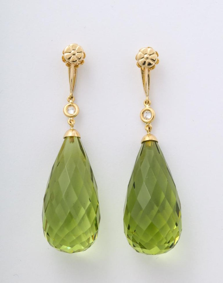 Round Cut Amber Peridot Diamond Earrings For Sale