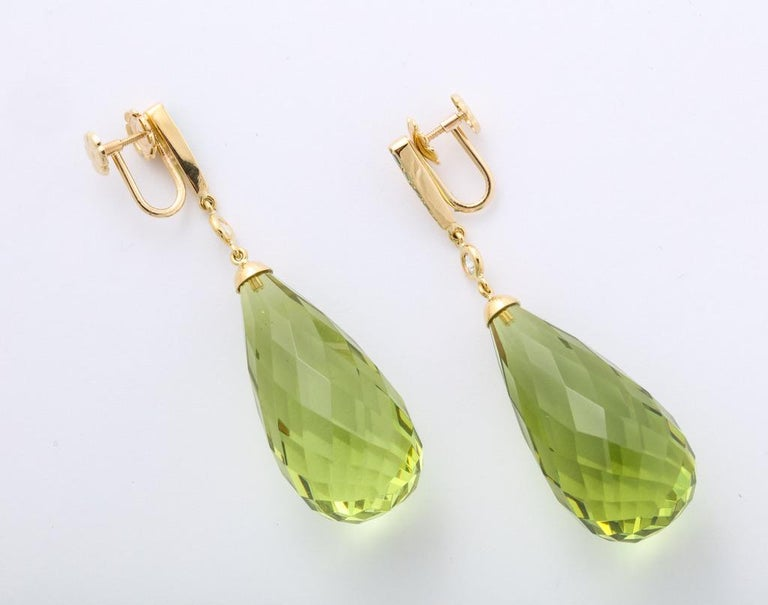 Amber Peridot Diamond Earrings In New Condition For Sale In Bal Harbour, FL