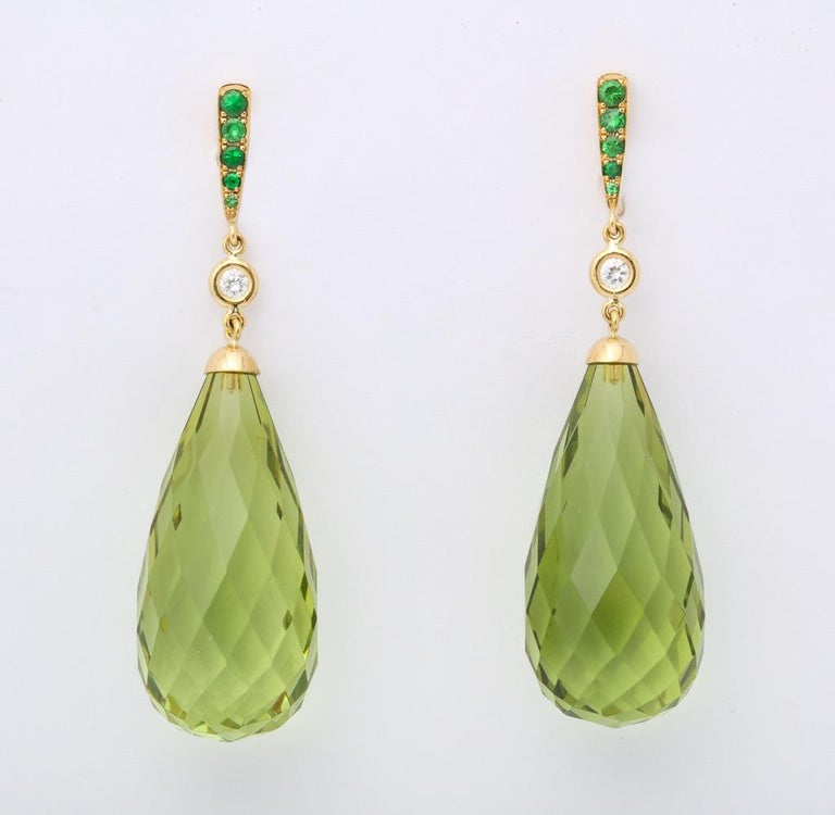 Women's or Men's Amber Peridot Diamond Earrings For Sale