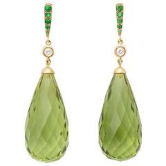 Amber Peridot Diamond Earrings