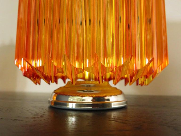 Mid-Century Modern Amber Quadriedri Table Lamp, Venini Style For Sale