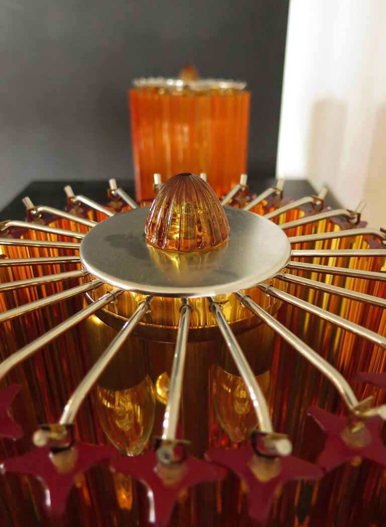 Italian Amber Quadriedri Table Lamp, Venini Style For Sale