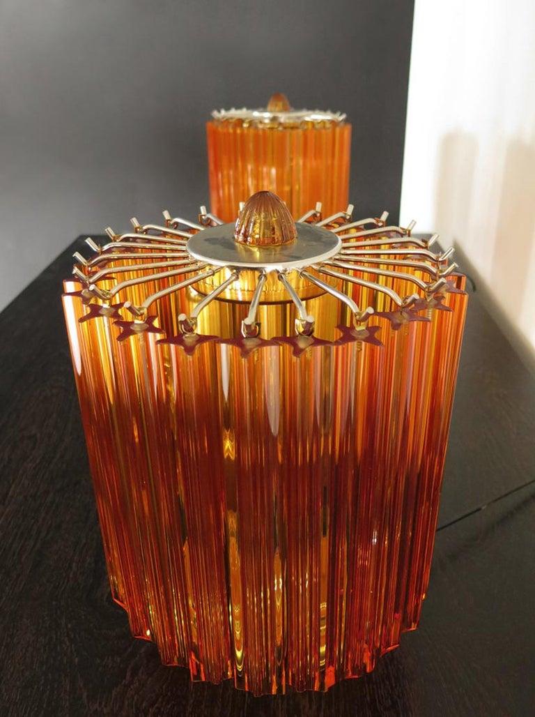 Blown Glass Amber Quadriedri Table Lamp, Venini Style