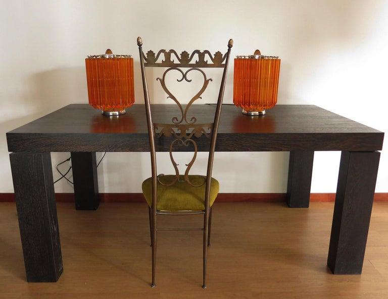 Late 20th Century Amber Quadriedri Table Lamp, Venini Style For Sale