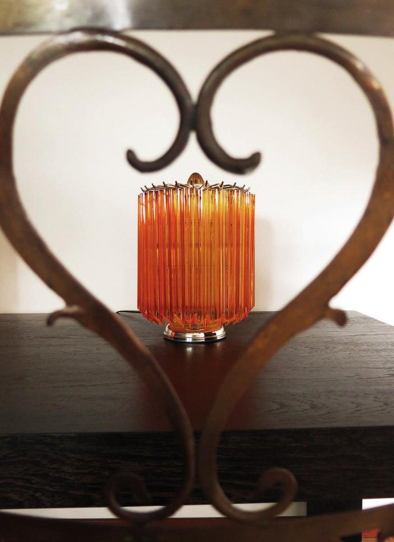 Blown Glass Amber Quadriedri Table Lamp, Venini Style For Sale