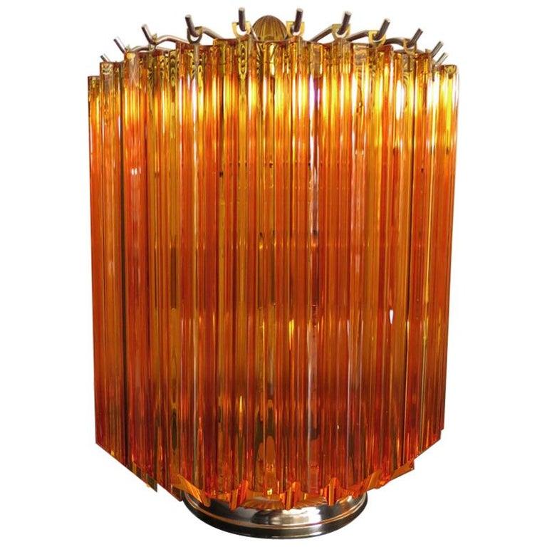 Amber Quadriedri Table Lamp, Venini Style For Sale