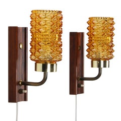 Amber & Rosewood Wall Lamps Pair, 1950s Danish Vintage Wall Lights