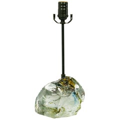 Amber Sea Green and Clear Cullet Glass Rock Lamp