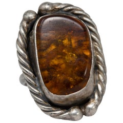 Amber Sterling Silver Statement Ring, Vintage Accented Bezel