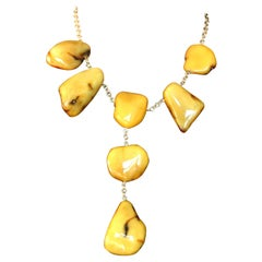 Amber Stone 18 Karat Gold Necklace
