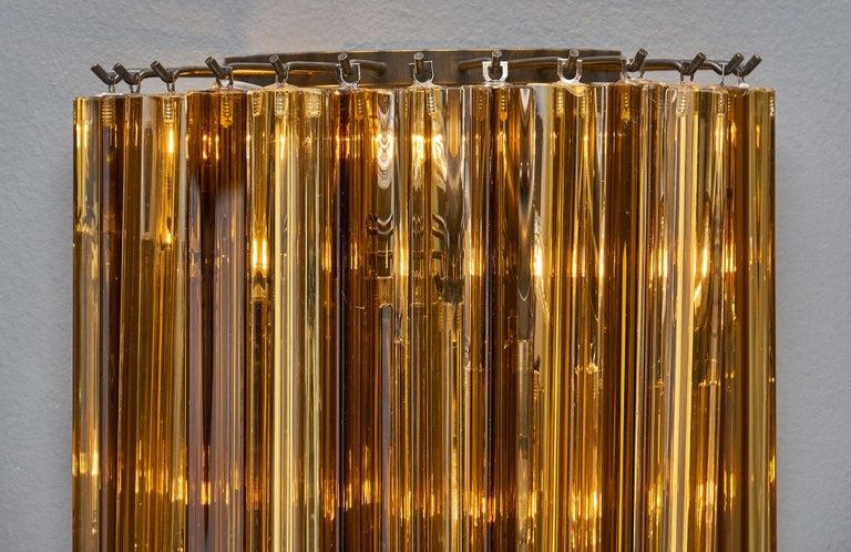 Italian Amber Venini Style Murano Glass Sconces For Sale