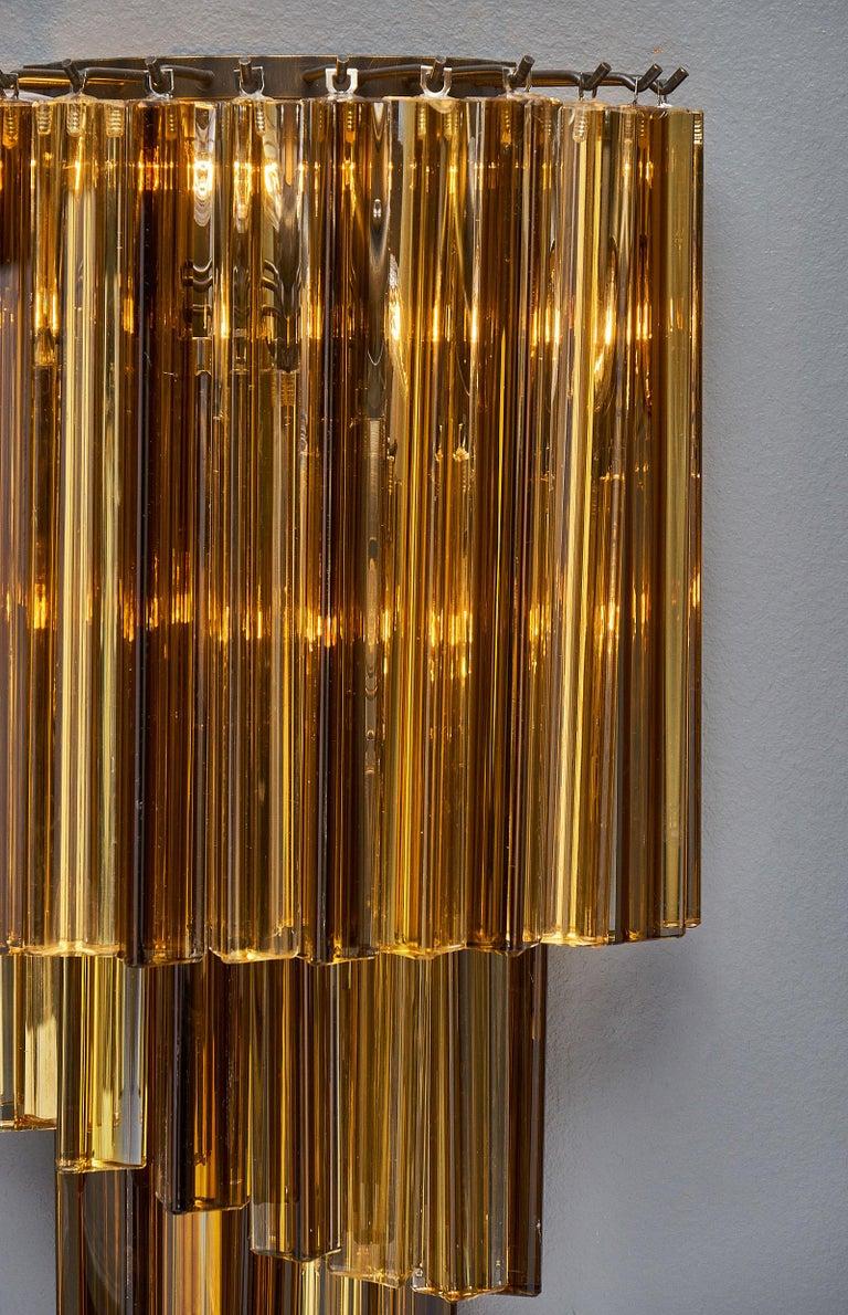 Contemporary Amber Venini Style Murano Glass Sconces For Sale