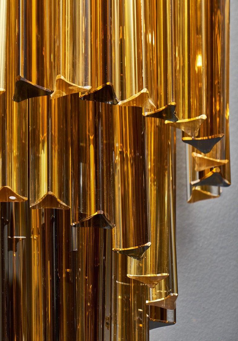 Amber Venini Style Murano Glass Sconces For Sale 1